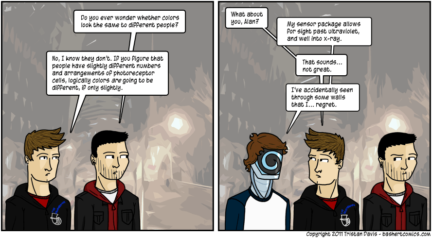 here's a fun alternate interpretation to this comic: Alex asks me a question, and I respond by talking to my imaginary friend robot